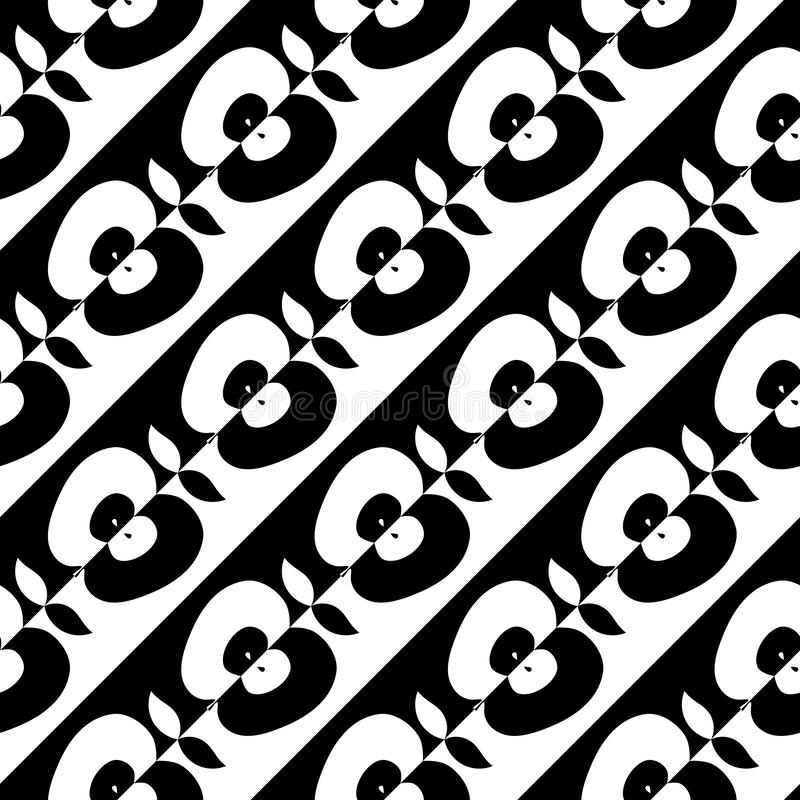 Άνευ ραφής μισή διαγώνια απεικόνιση μήλων ελεύθερη απεικόνιση δικαιώματος