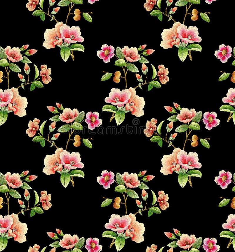 Άνευ ραφής μοναδικό λουλούδι με το μαύρο υπόβαθρο απεικόνιση αποθεμάτων