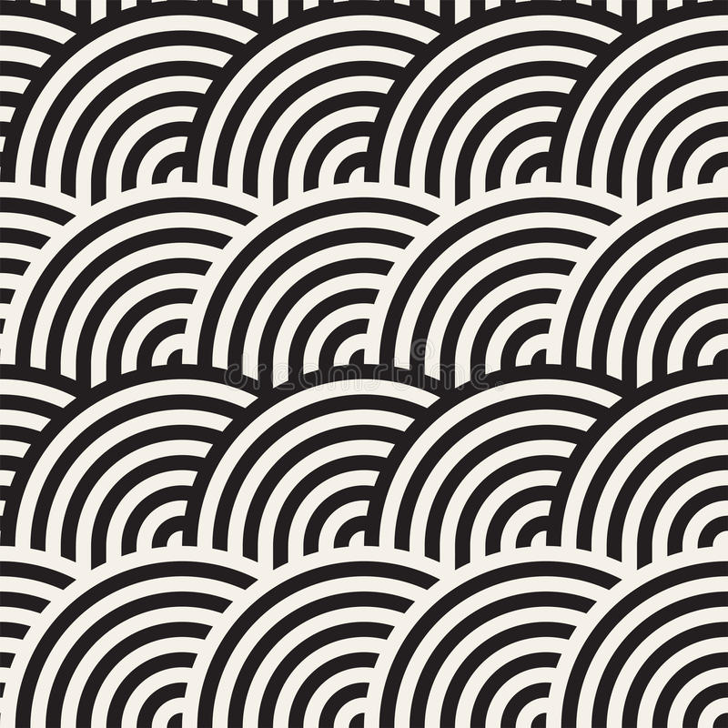Άνευ ραφής μονοχρωματικό γεωμετρικό σχέδιο αφηρημένη ανασκόπηση γεωμ&epsil Μοντέρνη στρογγυλευμένη διάνυσμα τυπωμένη ύλη γραμμών απεικόνιση αποθεμάτων