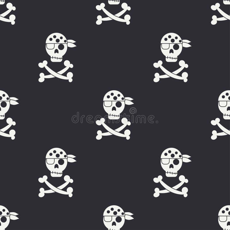 Άνευ ραφής μονοχρωματικό επίπεδο σχέδιο με τη σημαία πειρατών διανυσματική απεικόνιση