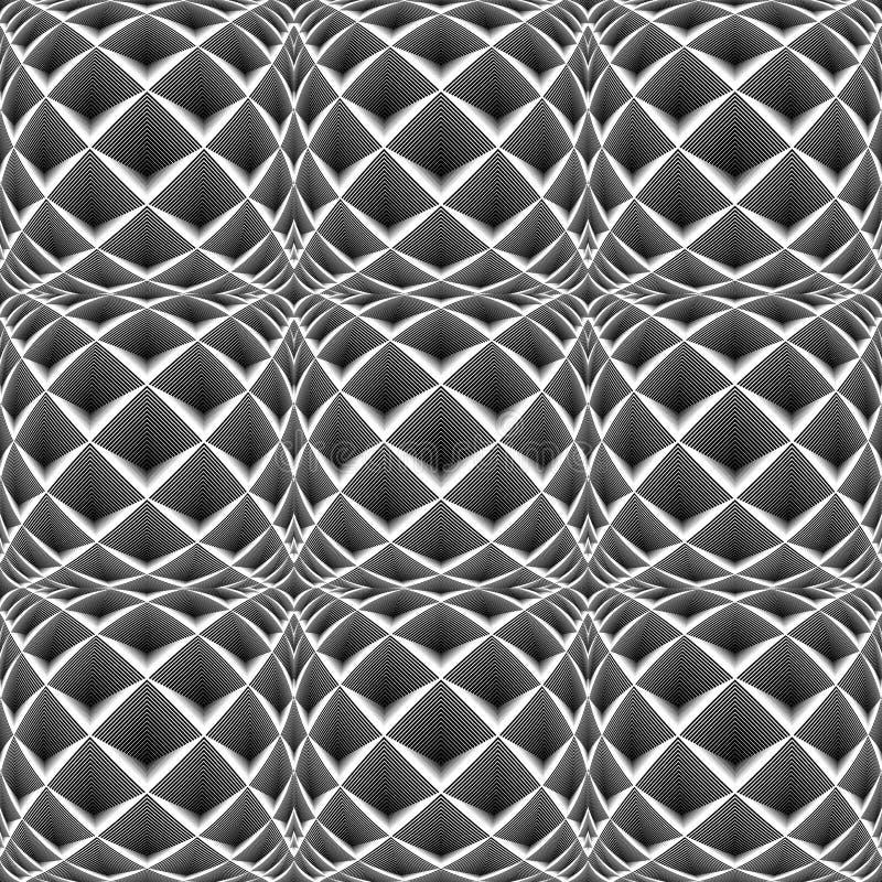 Άνευ ραφής μονοχρωματικό σχέδιο διαμαντιών σχεδίου διανυσματική απεικόνιση