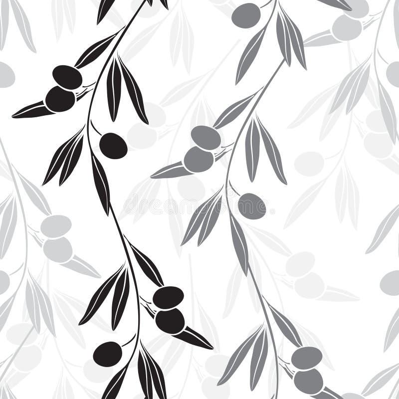 Άνευ ραφής μονοχρωματικό σχέδιο με τα κλαδί ελιάς ελεύθερη απεικόνιση δικαιώματος