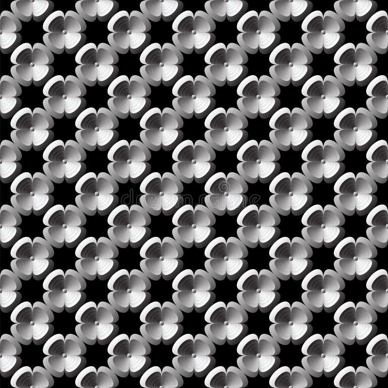 Άνευ ραφής μονοχρωματικό σχέδιο λουλουδιών σχεδίου διανυσματική απεικόνιση