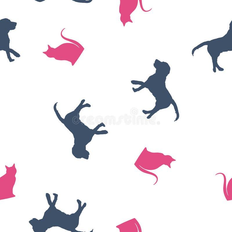 Άνευ ραφής μπλε σκυλί σχεδίων και ρόδινη γάτα, διανυσματικό eps 10 ελεύθερη απεικόνιση δικαιώματος