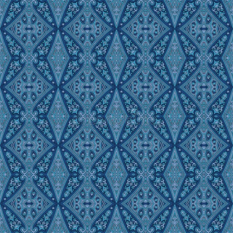 Άνευ ραφής μπλε σχέδιο του Paisley διανυσματική απεικόνιση