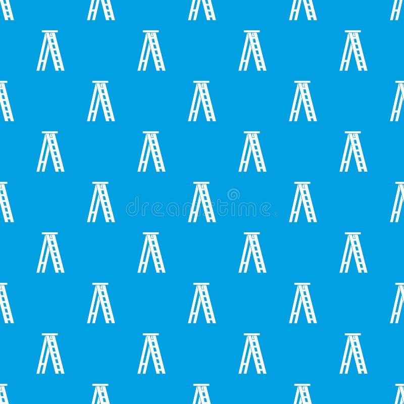Άνευ ραφής μπλε σχεδίων Stepladder διανυσματική απεικόνιση