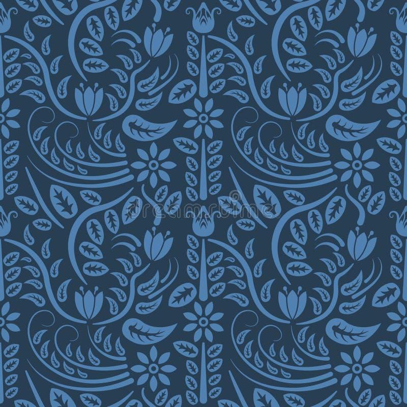 Άνευ ραφής μπλε floral σχέδιο, διάνυσμα Η ατελείωτη σύσταση μπορεί να χρησιμοποιηθεί για την ταπετσαρία, το σχέδιο γεμίζει, υπόβα διανυσματική απεικόνιση