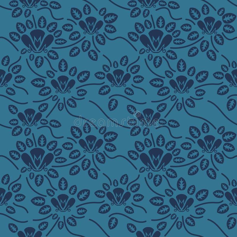 Άνευ ραφής μπλε floral σχέδιο, διάνυσμα Η ατελείωτη σύσταση μπορεί να χρησιμοποιηθεί για την ταπετσαρία, το σχέδιο γεμίζει, υπόβα ελεύθερη απεικόνιση δικαιώματος