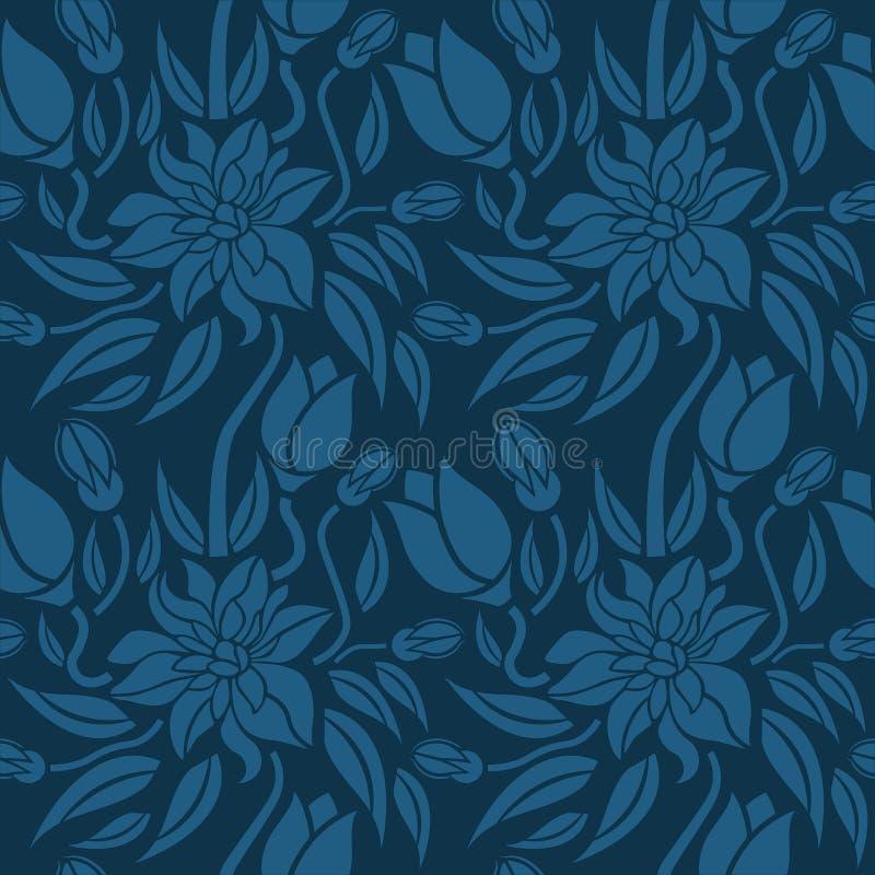 Άνευ ραφής μπλε floral σχέδιο, διάνυσμα Η ατελείωτη σύσταση μπορεί να χρησιμοποιηθεί για την ταπετσαρία, το σχέδιο γεμίζει, υπόβα απεικόνιση αποθεμάτων