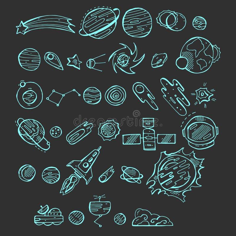 Άνευ ραφής μπλε εικονίδια που τίθενται με τα διαστημικά στοιχεία doodle στο σκοτεινό υπόβαθρο Η διανυσματική απεικόνιση με συρμέν ελεύθερη απεικόνιση δικαιώματος