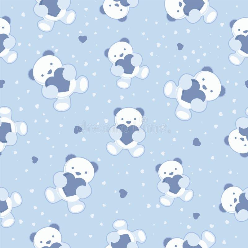 Άνευ ραφής μπλε υπόβαθρο μωρών με τη teddy αρκούδα και  ελεύθερη απεικόνιση δικαιώματος
