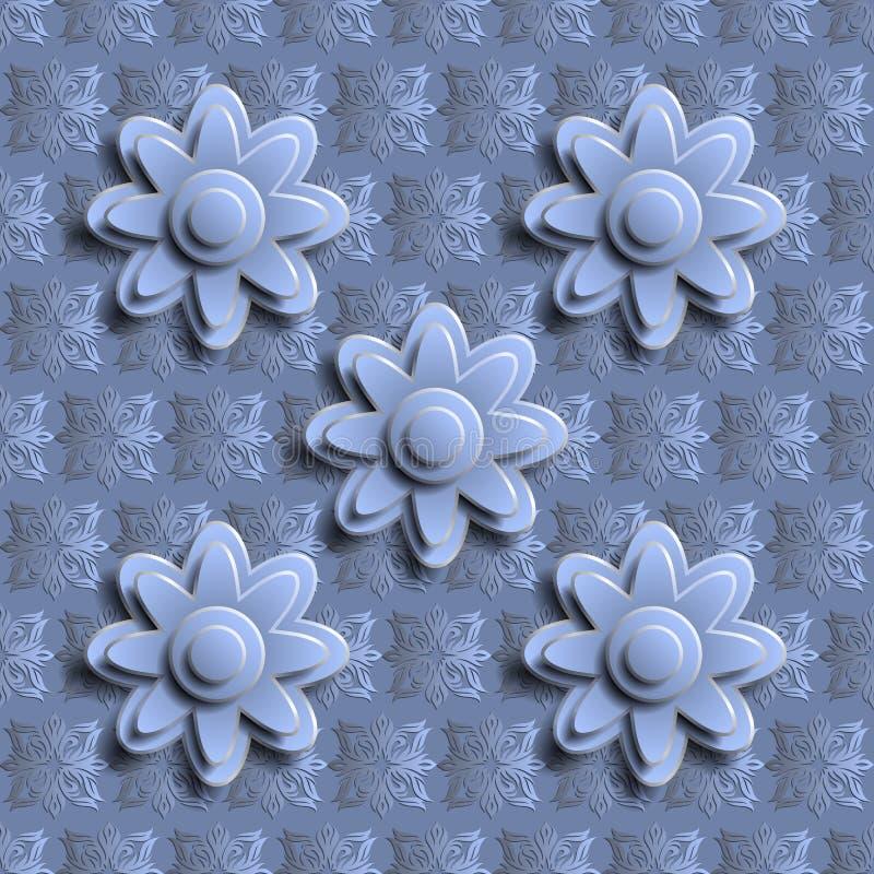 Άνευ ραφής μπλε floral σχέδιο τρισδιάστατο απεικόνιση αποθεμάτων