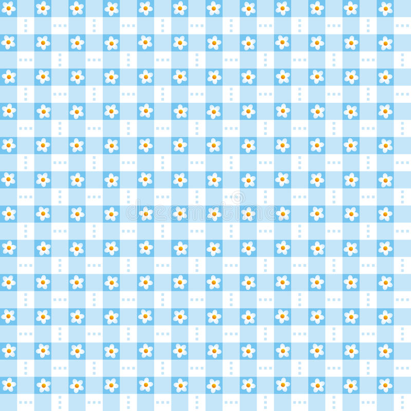 Άνευ ραφής μπλε floral gingham υπόβαθρο ελεύθερη απεικόνιση δικαιώματος