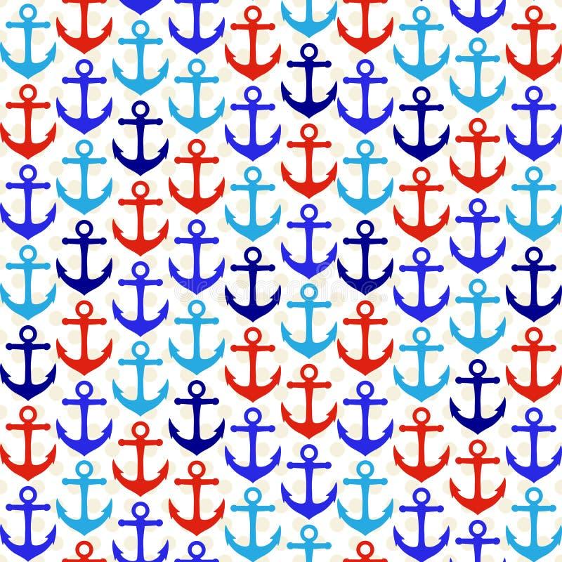 Άνευ ραφής ναυτική Themed διανυσματική υπόβαθρο ή ταπετσαρία Tileable διανυσματική απεικόνιση