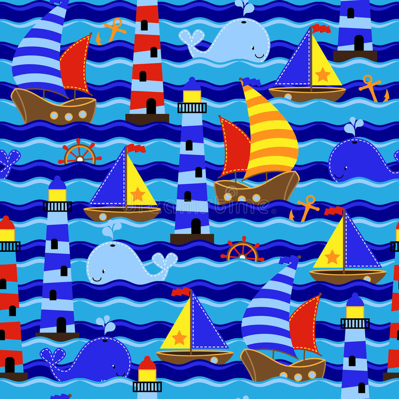 Άνευ ραφής ναυτική Themed διανυσματική υπόβαθρο ή ταπετσαρία Tileable απεικόνιση αποθεμάτων