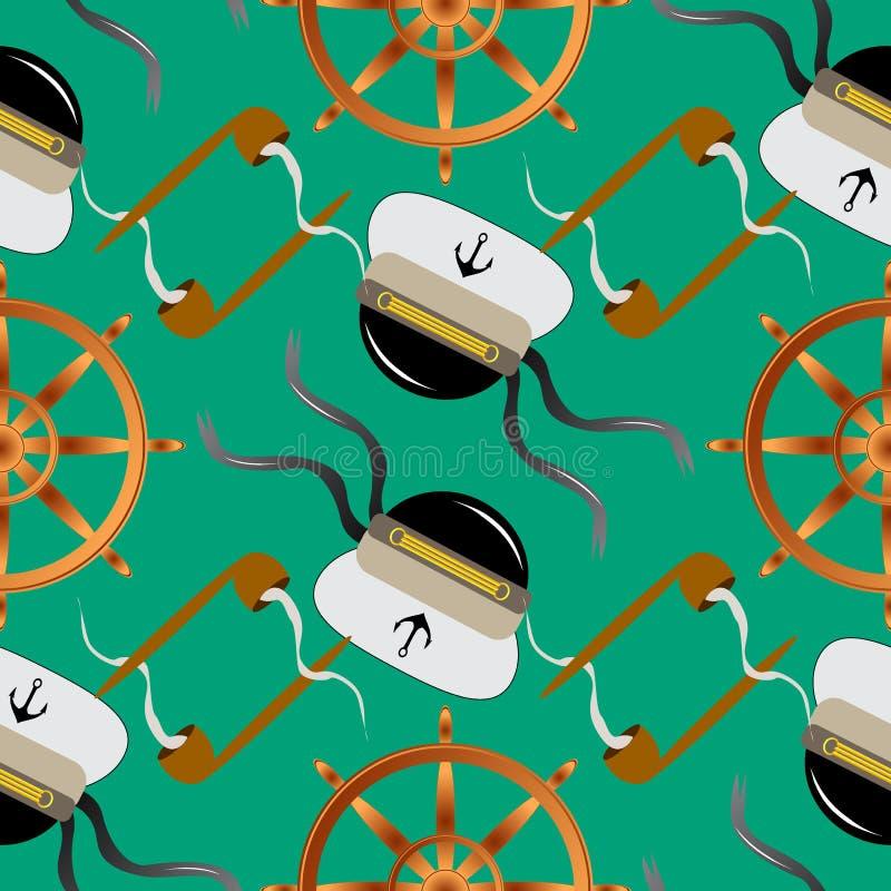 Άνευ ραφής ναυτικό σχεδίων με το τιμόνι σωλήνων καπνών, την άγκυρα και το καπέλο καπετάνιου στην μπλε διανυσματική απεικόνιση υπο διανυσματική απεικόνιση