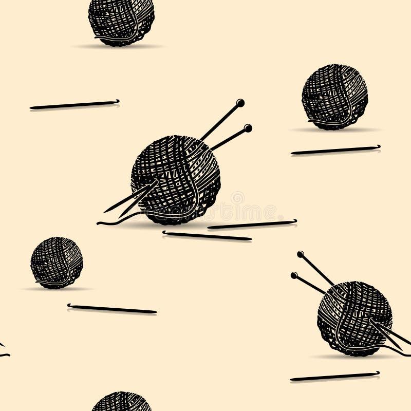 Άνευ ραφής νηματοδέματα σκιαγραφιών σχεδίων του νήματος για το πλέξιμο ελεύθερη απεικόνιση δικαιώματος