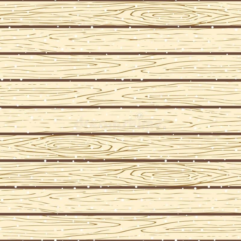Άνευ ραφής ξύλινο σχέδιο σανίδων Διανυσματικό χιονώδες υπόβαθρο σύστασης φλοιών δέντρων απεικόνιση αποθεμάτων