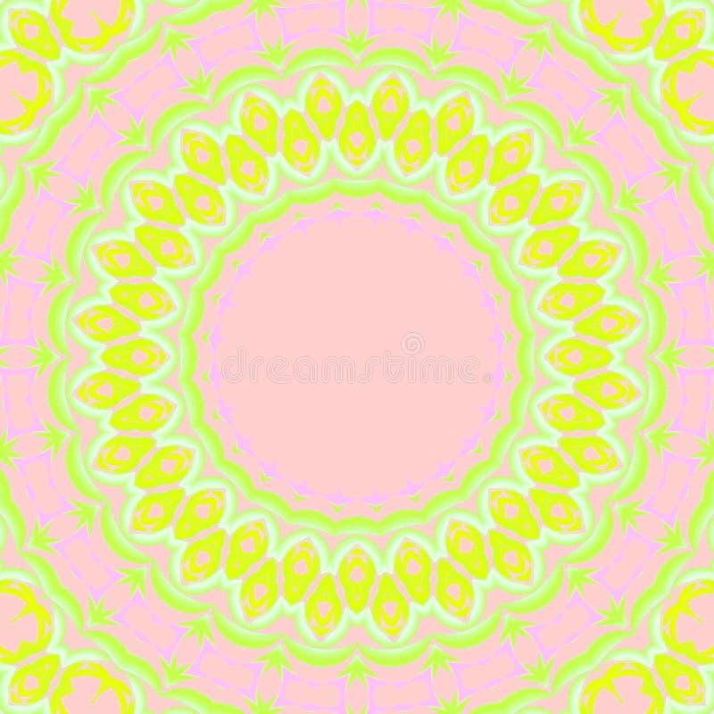 Άνευ ραφής ομόκεντρο floral πράσινο ροζ ασβέστη σχεδίων κίτρινο απεικόνιση αποθεμάτων