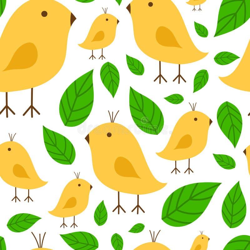 Άνευ ραφής δονούμενος κλάδος σχεδίων με διανυσματική απεικόνιση πουλιών καναρινιών την κίτρινη στο άσπρο υπόβαθρο απεικόνιση αποθεμάτων
