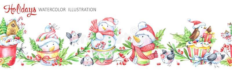 Άνευ ραφής οριζόντια γιρλάντα Watercolor Αστείο Snowmens ελεύθερη απεικόνιση δικαιώματος