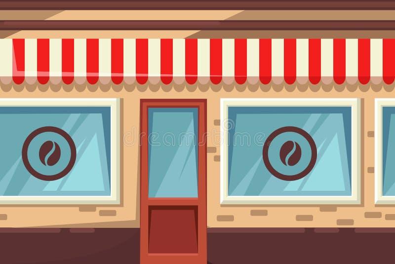 Άνευ ραφής οριζόντιο υπόβαθρο με τον καφέ, το αρτοποιείο ή τη καφετερία οδών Διανυσματική απεικόνιση κινούμενων σχεδίων του κτηρί ελεύθερη απεικόνιση δικαιώματος