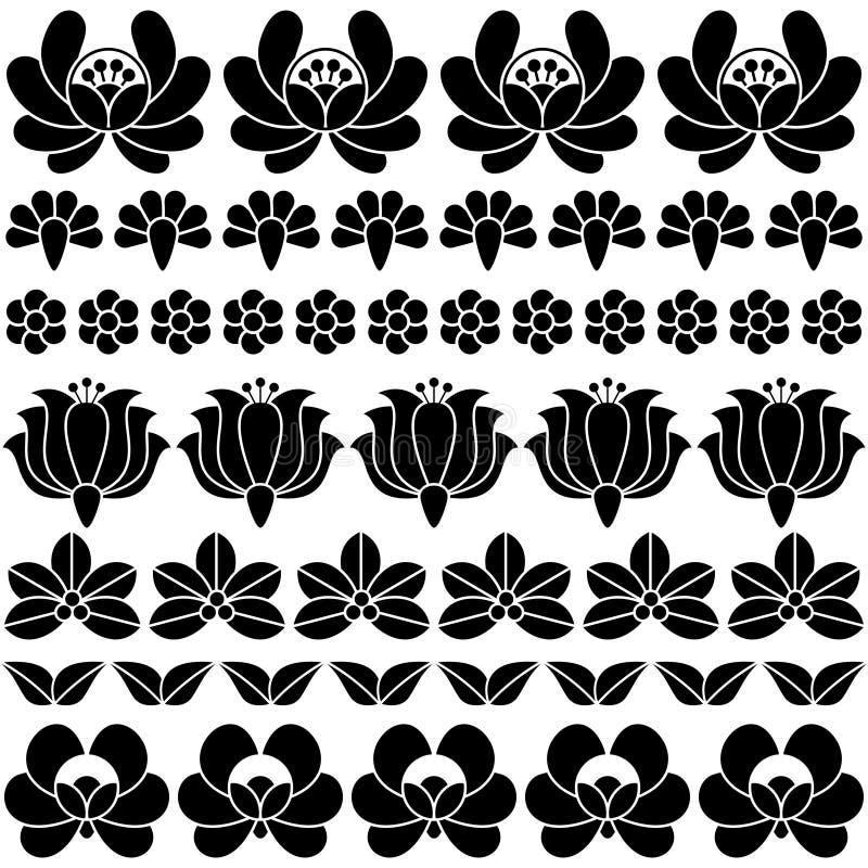 Άνευ ραφής ουγγρικό μαύρο λαϊκό σχέδιο τέχνης - floral κεντητική Kalocsai ελεύθερη απεικόνιση δικαιώματος