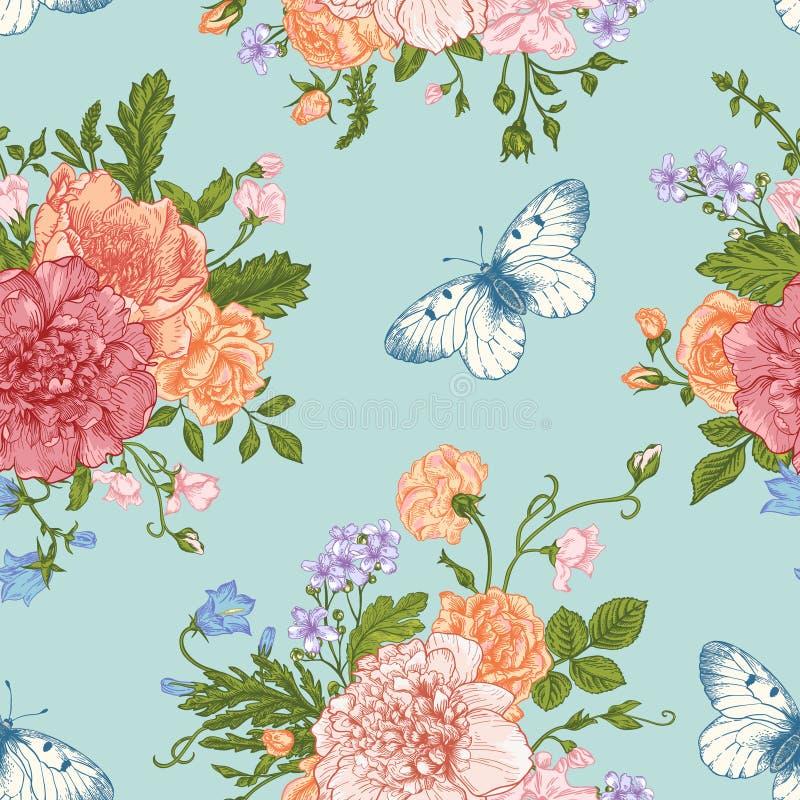 Άνευ ραφής λουλούδια και πεταλούδες σχεδίων διανυσματική απεικόνιση