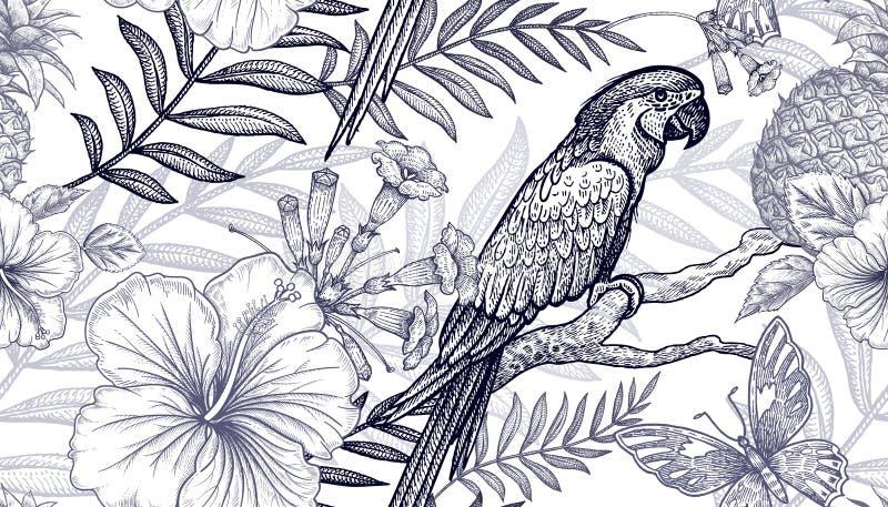 Άνευ ραφής λουλούδια και πουλιά σχεδίων ελεύθερη απεικόνιση δικαιώματος