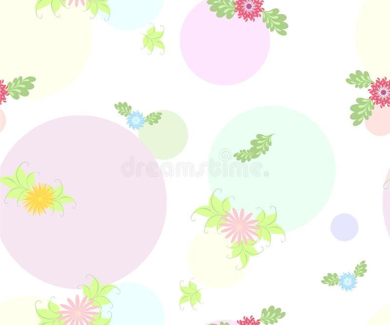 Άνευ ραφής λουλούδι και στρογγυλό σχέδιο στο άσπρο υπόβαθρο EPS10 διανυσματική απεικόνιση ελεύθερη απεικόνιση δικαιώματος