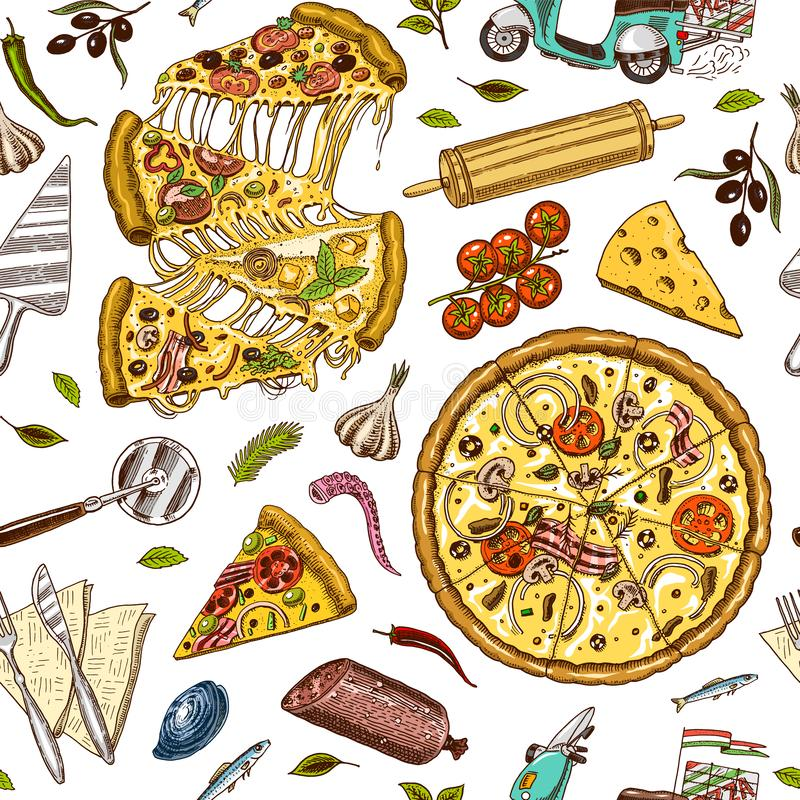 Άνευ ραφής πίτσα σχεδίων με το τυρί Σύσταση για την ανασκόπηση Yummy ιταλικά χορτοφάγα τρόφιμα με τις ντομάτες, θαλασσινά και ελεύθερη απεικόνιση δικαιώματος
