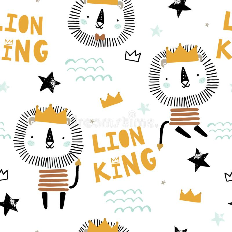 Άνευ ραφής παιδαριώδες σχέδιο με το χαριτωμένο βασιλιά λιονταριών, κορώνες, αστέρια Δημιουργική Σκανδιναβική σύσταση παιδιών ύφου διανυσματική απεικόνιση