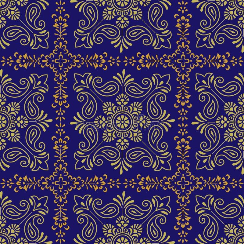Άνευ ραφής παραδοσιακό ινδικό διανυσματικό σχέδιο στο μπλε υπόβαθρο ελεύθερη απεικόνιση δικαιώματος