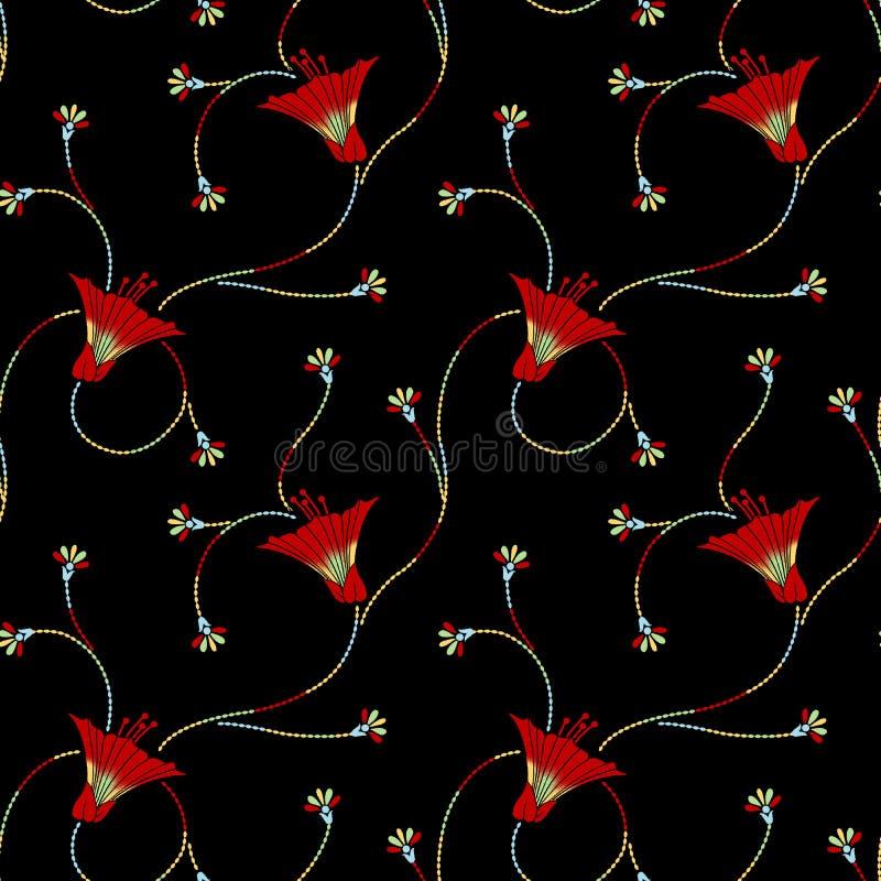 Άνευ ραφής παραδοσιακό floral σχέδιο με το μαύρο υπόβαθρο διανυσματική απεικόνιση