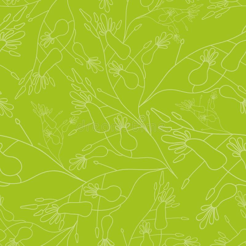 Άνευ ραφής παρουσιασμένο σχέδιο γραμμικά λουλούδι στο πράσινο υπόβαθρο ελεύθερη απεικόνιση δικαιώματος