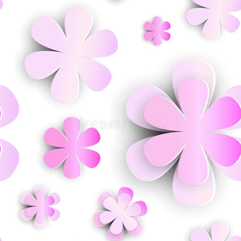 Άνευ ραφής περικοπή Florar εγγράφου στοιχείων σχεδίων λουλουδιών στο άσπρο υπόβαθρο απεικόνιση αποθεμάτων