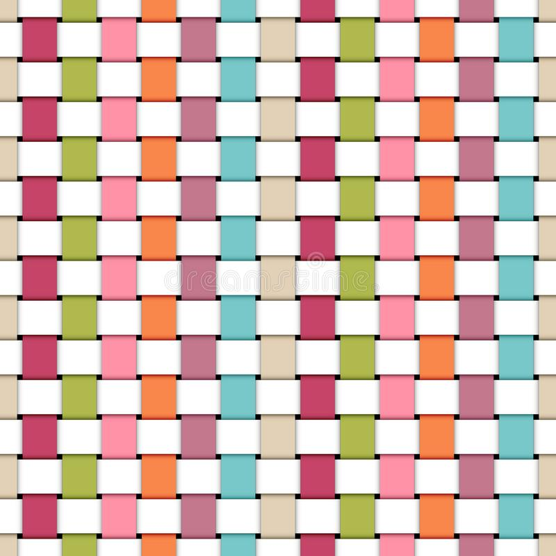 Άνευ ραφής πλεγμένα σχέδιο χρώματα και λευκό ουράνιων τόξων λωρίδων εγγράφου αναδρομικά διανυσματική απεικόνιση