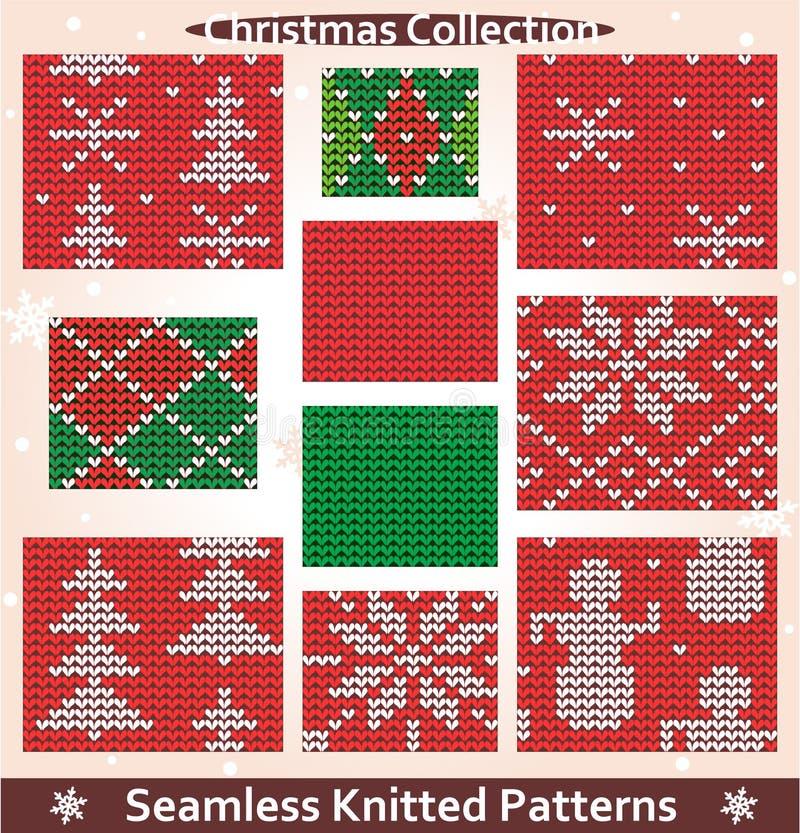 Άνευ ραφής πλεκτή συλλογή Χριστουγέννων προτύπων ελεύθερη απεικόνιση δικαιώματος