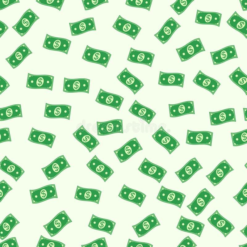 Άνευ ραφής πλούτος συμβόλων χρημάτων υποβάθρου δολαρίων χρημάτων μετρητών τραπεζογραμματίων σχεδίων διανυσματικοί άνευ ραφής πράσ διανυσματική απεικόνιση