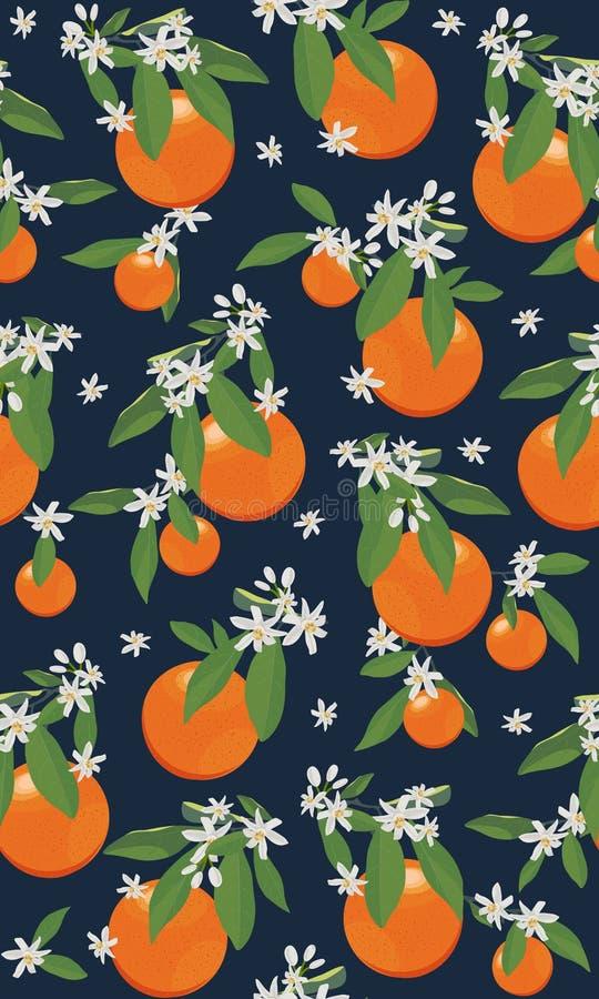 Άνευ ραφής πορτοκαλιά φρούτα σχεδίων με τα λουλούδια και φύλλα στο μαύρο υπόβαθρο ελεύθερη απεικόνιση δικαιώματος