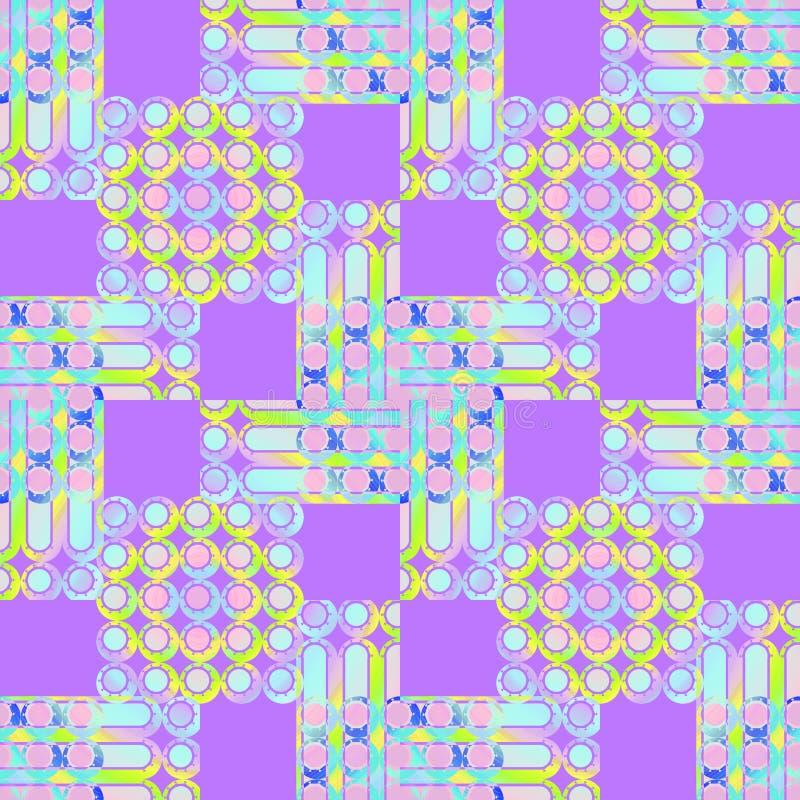Άνευ ραφής πορφυρό κίτρινο ρόδινο τυρκουάζ σχεδίων τετραγώνων, κύκλων και λωρίδων διανυσματική απεικόνιση
