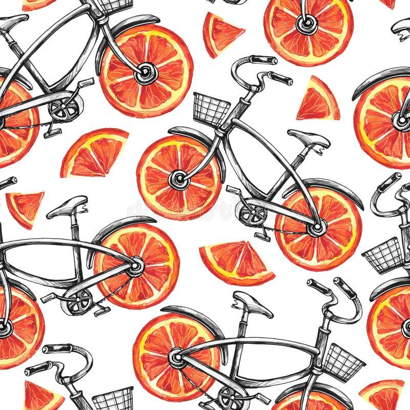 Άνευ ραφής ποδήλατα σχεδίων Watercolor με τις ρόδες γκρέιπφρουτ θερινό διάνυσμα απεικόνισης ανασκόπησης ζωηρόχρωμο απεικόνιση αποθεμάτων