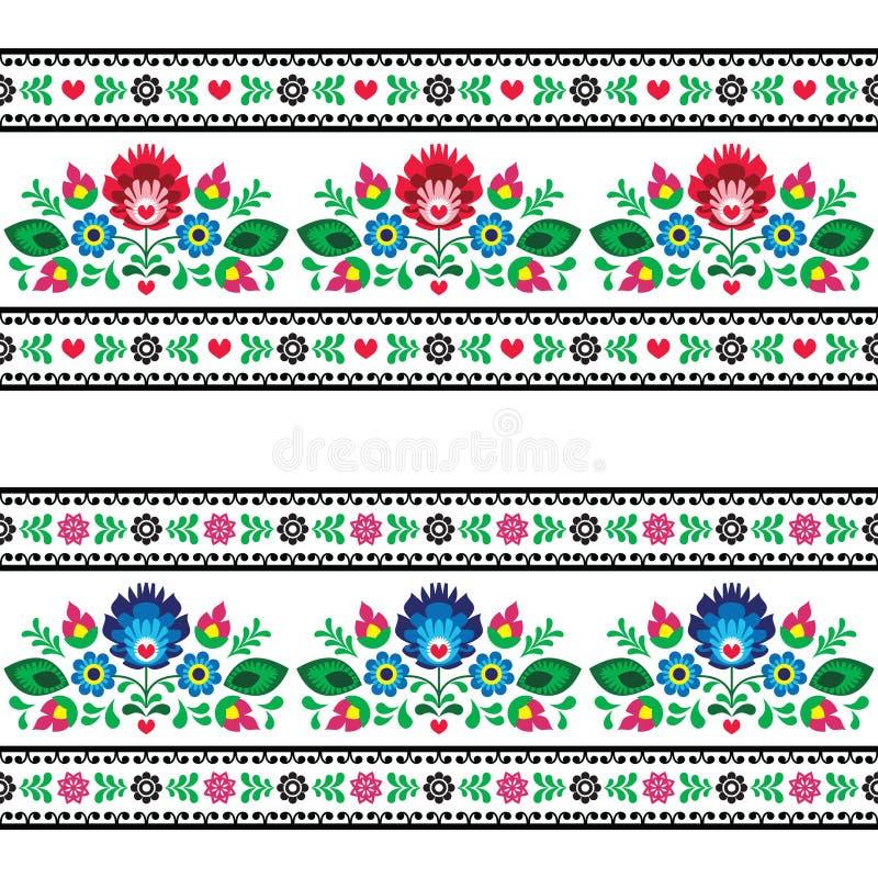 Άνευ ραφής πολωνικό λαϊκό σχέδιο με τα λουλούδια ελεύθερη απεικόνιση δικαιώματος