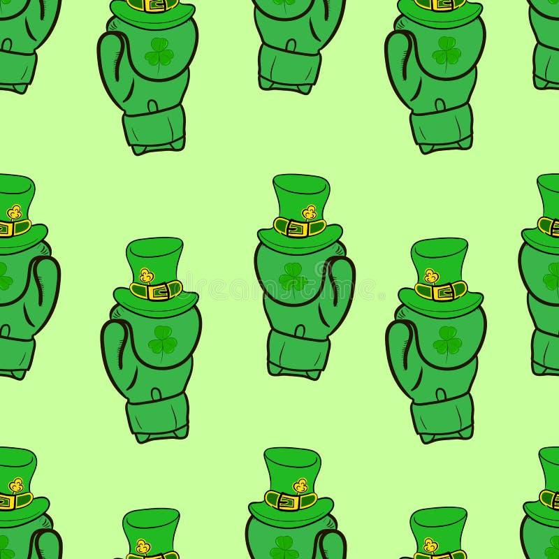 Άνευ ραφής πράσινα εγκιβωτίζοντας γάντια ελεύθερη απεικόνιση δικαιώματος
