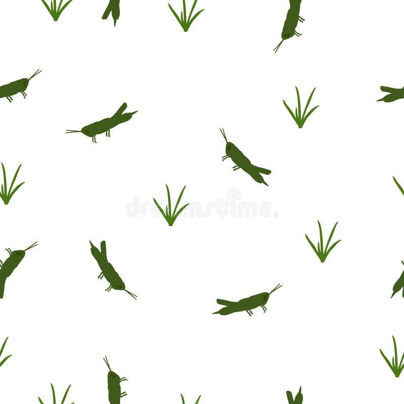 Άνευ ραφής πράσινες ακρίδα και χλόη σχεδίων άσπρο, διανυσματικό eps 10 διανυσματική απεικόνιση
