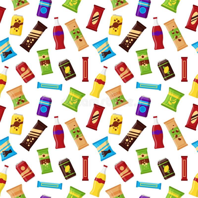 Άνευ ραφής προϊόν πρόχειρων φαγητών σχεδίων για τη μηχανή πώλησης Τα πρόχειρα φαγητά γρήγορου φαγητού, πίνουν, καρύδια, τσιπ, χυμ διανυσματική απεικόνιση