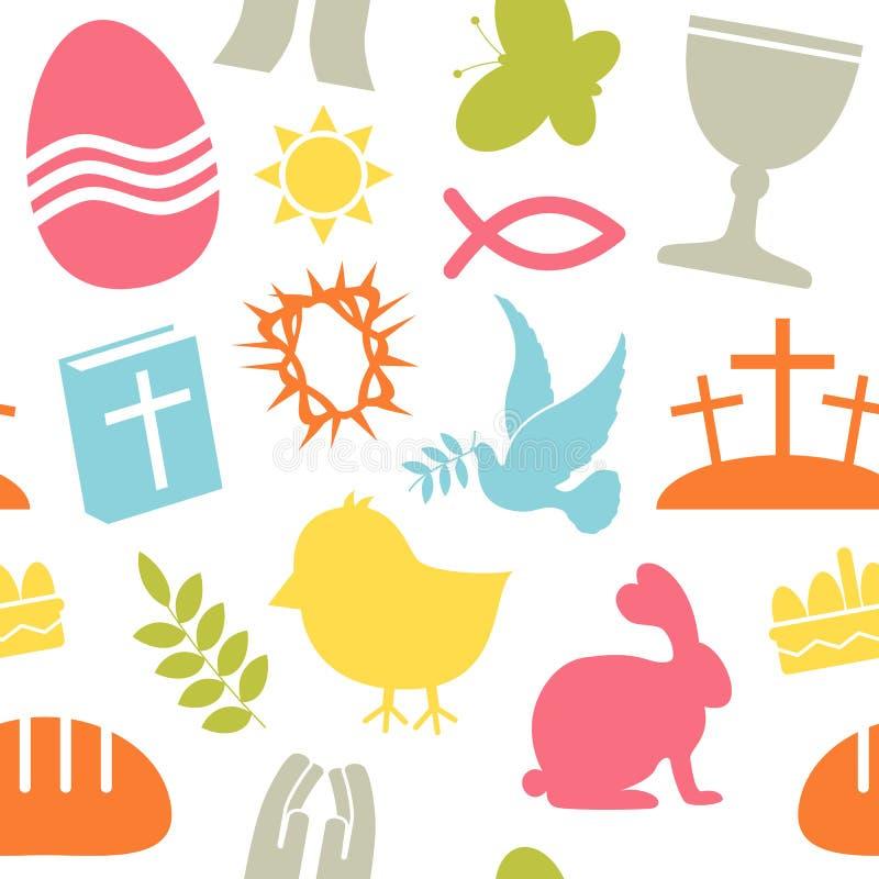 Άνευ ραφής πρότυπο εικονιδίων Πάσχας απεικόνιση αποθεμάτων