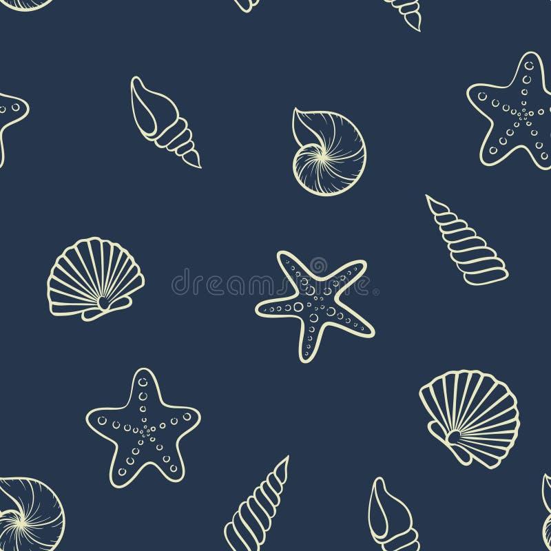 Άνευ ραφής πρότυπο θαλασσινών κοχυλιών σχέδιο για τη ευχετήρια κάρτα διακοπών και την πρόσκληση των εποχιακών καλοκαιρινών διακοπ διανυσματική απεικόνιση