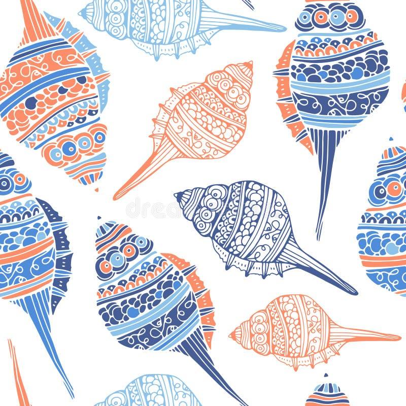 Άνευ ραφής πρότυπο θαλασσινών κοχυλιών απεικόνιση αποθεμάτων