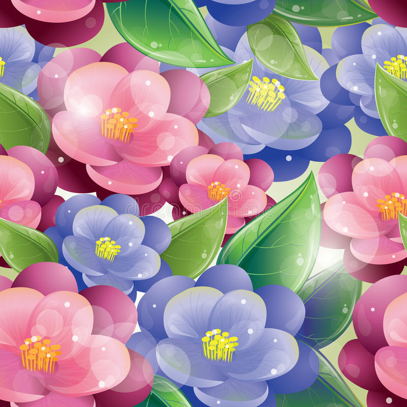 Άνευ ραφής πρότυπο - ιώδη λουλούδια απεικόνιση αποθεμάτων